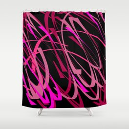 Tough & Sassy Pink Black Abstract Art Shower Curtain