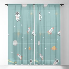 Space Pattern Illustration with Cyan Background Sheer Curtain