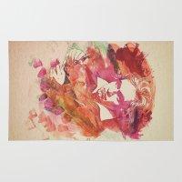 beethoven Area & Throw Rugs featuring Ludwig van Beethoven Watercolor Remix  by badbugs_art
