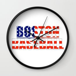 Baseball USA Blue and Red Wall Clock