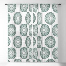 Dark Green Mandala Pattern Sheer Curtain