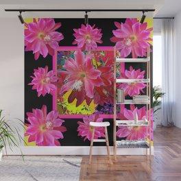Black Fuchsia Purple Tropical Flowers Art Wall Mural