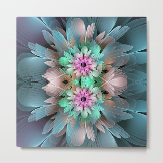 Soft coloured Twin Flowers Metal Print