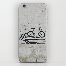 Bicycle with stars and small car iPhone Skin