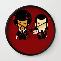 pulp fiction Wall Clocks featuring pulp fiction by sEndro