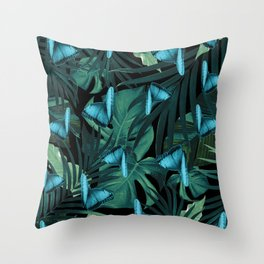 Tropical Butterfly Jungle Night Leaves Pattern #5 #tropical #decor #art #society6 Throw Pillow