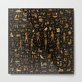 Ancient Egyptian Hieroglyphics Obsidian Copper Metal Print