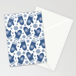 Wintery Blue Snowflake Mittens Stationery Cards