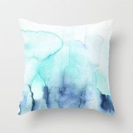 Wanderlust Teal Blue Watercolor Throw Pillow