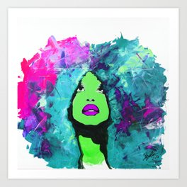 Afro Funk Girl Color Green Pink Art Print