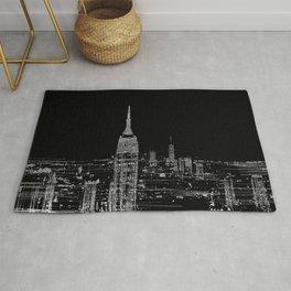Contemporary Elegant Silver City Skyline Design Rug