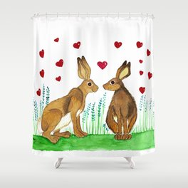 Hares in Love Shower Curtain