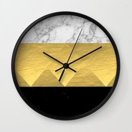 Stacked - gold foil black and marble cell phone case golden urban minimal retro modern city hipster  Wall Clock