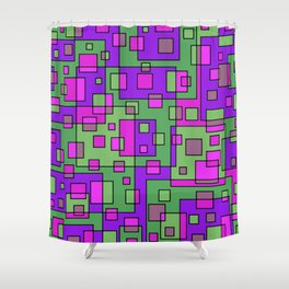 Purple Green Abstract Square Shower Curtain