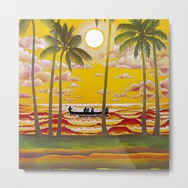 Surf Hawaii, Outrigger, Fly Hawaiian Air Vintage Travel Poster Metal Print