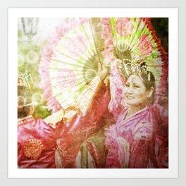 culture Photography korean FAN DANCER tradition Corea asian hanbok dress dancer musician Art Print