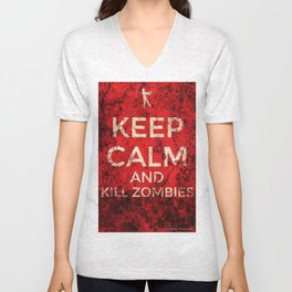 KEEP CALM AND KILL ZOMBIES by AlyZen Moonshadow Unisex V-Neck