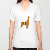 lama V-neck T-shirts featuring Peruvian Lama by Maureen Placente