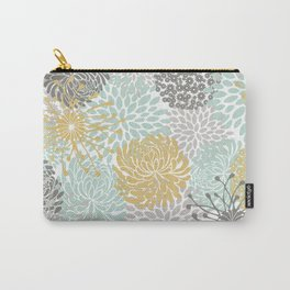 Floral Abstract Print, Yellow, Gray, Aqua Carry-All Pouch