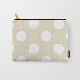 Large Polka Dots - White on Pearl Brown Carry-All Pouch