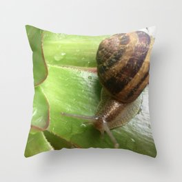 Snail on a Mission Throw Pillow