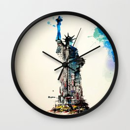 Vintage Liberty New York City Travel Love Watercolor Wall Clock