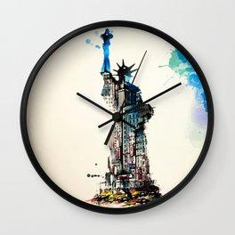 Vintage Liberty New York City Travel Love Watercolor Wall Clock