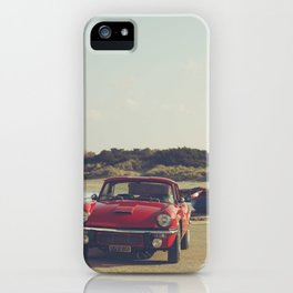 Triumph Spitfire by the sea, with ship, fine art photo, british car, sports car, color, high definit iPhone Case