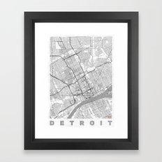 Detroit Map Line Framed Art Print