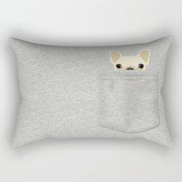 Pocket French Bulldog - Cream Rectangular Pillow