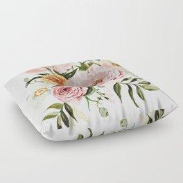 Loose Peonies & Poppies Floral Bouquet Floor Pillow