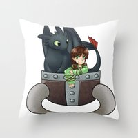 hiccup Throw Pillows featuring Hiccup and Toothless in a Helmet by snowrunt