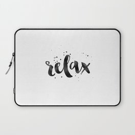 RELAX WALL ART, Relax Sign,Relax Quote,Watercolor Typography,Quote Prints,Motivational Poster,Black Laptop Sleeve