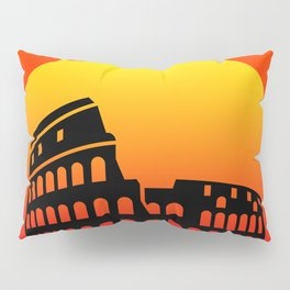 Sunset and colosseum in a red sky Pillow Sham