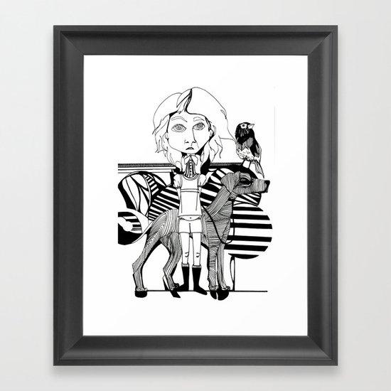 the girl, her dog and a bird Framed Art Print