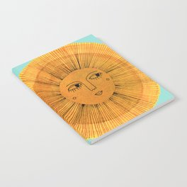 Sun Drawing - Gold and Blue Notebook