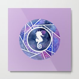 Watercolor Seahorse with violet background Metal Print