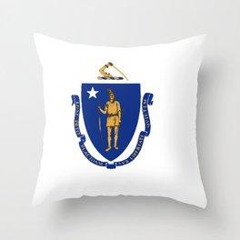 Flag of Massachusetts Throw Pillow