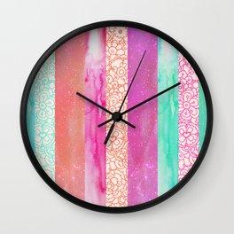 Tropical Stripes - Pink, Aqua And Peach Colorway Wall Clock