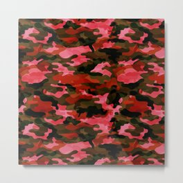 Camouflage (Red) Metal Print