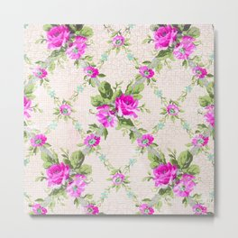 Vintage Pink Floral Lattice Metal Print