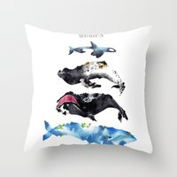 whales Throw Pillows featuring Whales by Amee Cherie Piek