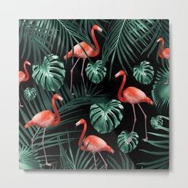 Tropical Flamingo Night Pattern #1 #tropical #decor #art #society6 Metal Print