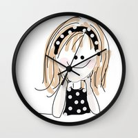 girly Wall Clocks featuring girly by Indraart