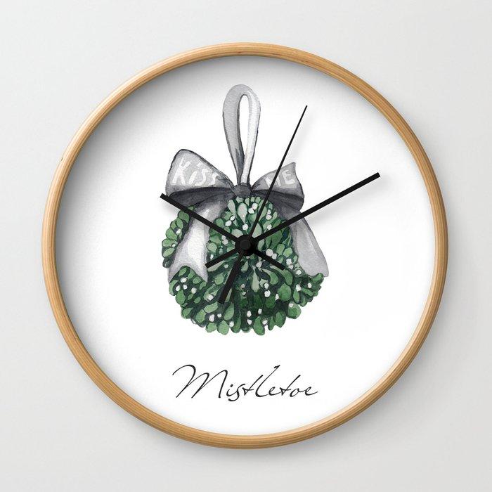 Kiss Me Under the Mistletoe Wall Clock