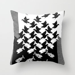 Maurits Cornelis Escher - Sky and Water 2 Throw Pillow