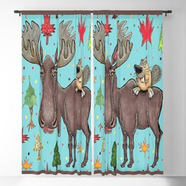 Canada Canadian wildlife, moose and beaver Blackout Curtain