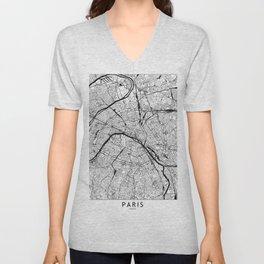 Paris Black and White Map Unisex V-Neck