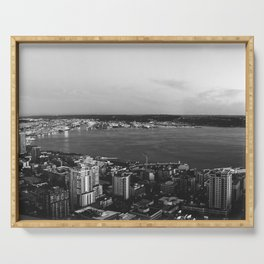 Seattle Summer Sunset from the Needle Panorama in Black and White Serving Tray