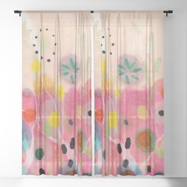 floral power abstract Sheer Curtain